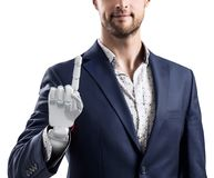 Businessman with robotic hand. Prosthesis concept. 3d rendering royalty free stock photos