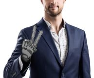 Businessman with robotic hand. Prosthesis concept. 3d rendering royalty free stock image