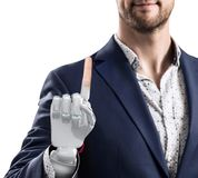 Businessman with robotic hand. Prosthesis concept. 3d rendering stock images