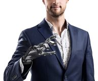 Businessman with robotic hand. Prosthesis concept. 3d rendering. Businessman with robotic hand. Prosthesis concept. Bionic technology concept. 3d rendering royalty free stock photography