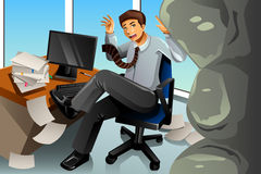 Businessman Between Rock and Hard Place Concept Royalty Free Stock Photos