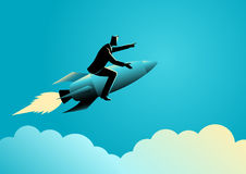 Businessman on a rocket. Business concept illustration of a businessman on a rocket Royalty Free Stock Photography