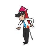Businessman rocket. Businessman fires rocket on his back Stock Image