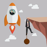 Businessman on a rocket fly pass businessman hold on the cliff w Royalty Free Stock Photo