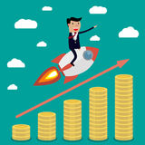 Businessman on rocket Royalty Free Stock Photo