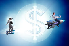 The businessman on rocket flying around dollar Stock Photography