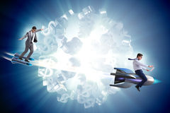 The businessman on rocket flying around dollar. Businessman on rocket flying around dollar Royalty Free Stock Photos