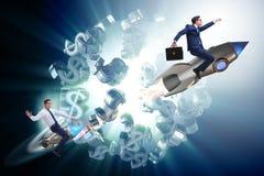 The businessman on rocket flying around dollar Stock Photos