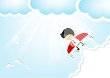 Businessman rocket flying the sky Stock Photo