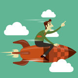 Businessman on rocket flying in the sky. Stock Photos