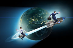 The businessman on the rocket in global business concept Stock Photo