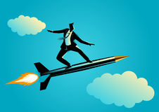 Businessman on a rocket pen. Business concept illustration of a businessman on a rocket pen Royalty Free Stock Photography