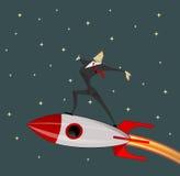 Businessman on rocket. Stock Photo