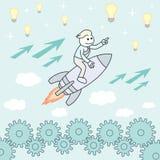 Businessman on a rocket. Startup Business vector illustration