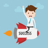 Businessman on a rocket. Royalty Free Stock Images