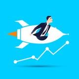 Businessman in a rocket.  vector illustration. Businessman in a rocket.  vector illustration Stock Image