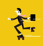 Businessman roller skating with briefcase. Royalty Free Stock Photo