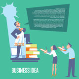 Businessman in roman toga and laurel. Big boss in roman toga and laurel wreath standing on office table before subordinate workers. Business idea banner vector illustration