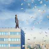 Businessman on the roof Royalty Free Stock Image