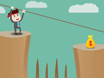 Businessman rope over cliff Royalty Free Stock Images
