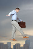 Businessman rope-walker Royalty Free Stock Photos
