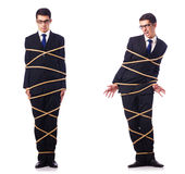 The businessman roped isolated on white background Stock Photography