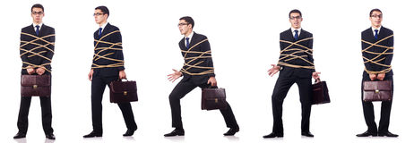 The businessman roped isolated on white background Royalty Free Stock Photos