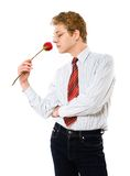 Businessman with rose Royalty Free Stock Image