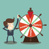 Businessman rotate success failure in wheel of fortune Royalty Free Stock Images