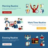 Businessman daily routine concept banners Royalty Free Stock Photos
