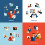 Businessman daily routine concept flat icons Royalty Free Stock Images