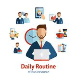 Businessman daily routine concept poster Stock Photography