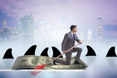 The businessman rowing on dollar boat in business financial concept. Businessman rowing on dollar boat in business financial concept Royalty Free Stock Image