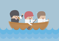 Businessman rowing team, Teamwork and Leadership concept Royalty Free Stock Images