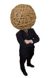 Businessman rubberband. Head with red tie isolated over white with a clipping path Stock Photography