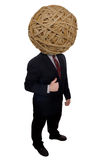 Businessman rubberband head. Businessman with a rubberband head over a white background Stock Image
