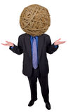 Businessman rubberband head. Businessman with a rubberband head over a white background Stock Photo