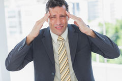 Businessman rubbing his temples and frowning at camera Stock Photo