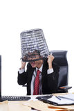 Businessman with rubbish bin Stock Photo