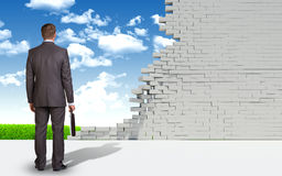 Businessman and ruined brick wall with nature Royalty Free Stock Photography
