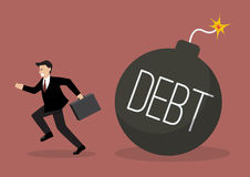 Businessman run away from debt bomb Royalty Free Stock Photos