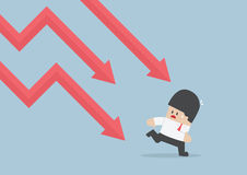 Businessman run away from falling graph, Downtrend Stock Photos