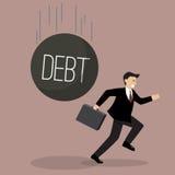 Businessman run away from heavy debt Royalty Free Stock Photo