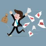 Businessman run away from tax With fear. Cartoon character creative,illustrator creative royalty free illustration