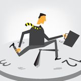 Businessman run on clock Royalty Free Stock Image