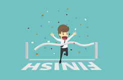 Businessman run cross the finish line.Business young cartoon hap Royalty Free Stock Photography