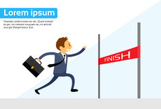 Businessman Run Cross Finish Line Flat Vector Stock Photos