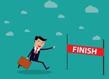 Businessman Run Cross Finish Line. Vector illustration in flat design on green background Stock Photography