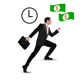 Businessman Run Financial Bar Graph Cartoon Business Man. Climbing Growth Chart Flat Vector Stock Image