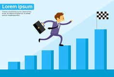Businessman Run Financial Bar Graph Cartoon. Business man Climbing Growth Chart Flat Vector Illustration Stock Photography